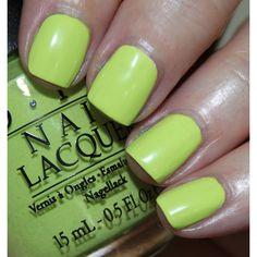 Lime Green Nail Polish Smackdown ❤ liked on Polyvore featuring beauty products, nail care, nail polish, nails, opi nail lacquer, opi nail varnish, opi, opi nail color and opi nail polish