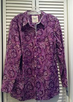 Buy my item on #vinted http://www.vinted.com/womens-clothing/blouses/16491356-izod-ls-shirt-purple-violet-paisley-nwt-button-down-blouse-size-xl
