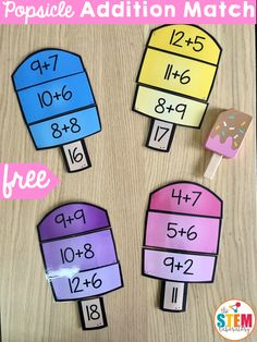 FREE Popsicle Addition Match! A sweet way to work on addition this spring or during the summer for review with kindergarten and first grade kids! #freemathprintables #freeadditiongames #theSTEMLaboratory