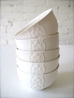 Paper thin porcelain lace bowl. Lovely.