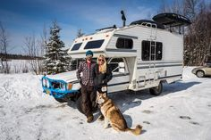 Year Round In A Converted Camper That He Has Outfitted With A Wood ... Emergency First Aid Kit, Emergency Preparedness, Survival, Mini Motorhome, Get Off The Grid, Doomsday Prepping, Small Trailer, Rv Travel, Travel Trailers