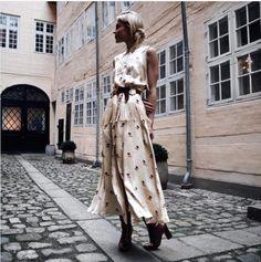 Ganni street style   Mary Seng   Donnelly Satin Maxi Dress
