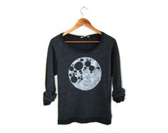 Full Moon - Relaxed Fit Hand Stenciled Women's Slouchy Scoop Neck Eco Fleece Sweater in Heather Black and White - S M L XL 2XL 3XL (56.00 USD) by twostringjane