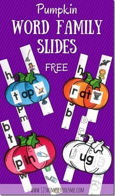 FREE Pumpkin Word Family Sliders! FUN practice for Preschool, Kindergarten, and 1st grade that can be printed In color or black and white to help kids reinforce rhyming, sounding out words, and matching words to pictures. LOVE THESE!