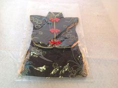Japanese Kimono Wine Bottle Cover Dress Black Red Lotus Blossoms #None