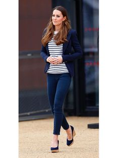 Kate Middleton  The preppy mom looked totally comfortable in her stripes, pairing them with jeans, a blazer, and her trusty wedges.