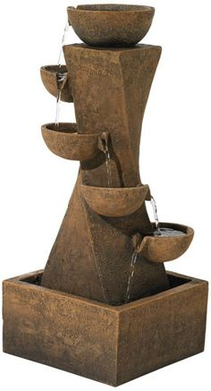 Five Bowl Cascading Indoor or Outdoor Water Fountain -