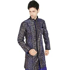 Violet and Grey Shot Tone Art Silk Readymade Indowestern Suit