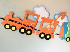 Nursery decor train banner. Also great for a train themed birthday. Colors, name and additional wording are customizable. Made with at least 4