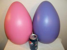 "2 Vintage Blowmold Easter Bunny Eggs Purple Pink Jumbo 14"" | eBay"