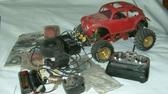 The barn finds we find in our lofts fro when we were a kid  original tamiya monster beetle radio controlled car,
