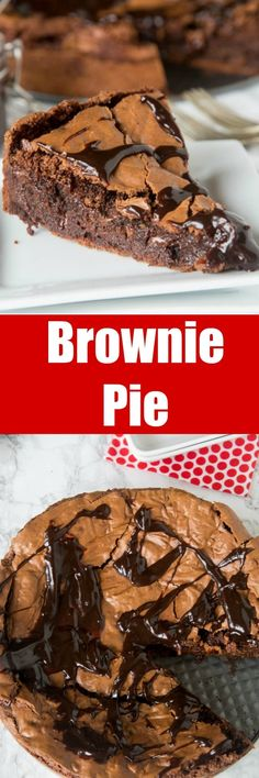 Gooey Brownie Pie - a gooey chocolate brownie with a crackly top baked into a pie and topped with hot fudge. A delicious and easy dessertfor any chocolate lover. Easy Pie Recipes, Easy No Bake Desserts, Köstliche Desserts, Brownie Recipes, Chocolate Desserts, Sweet Recipes, Baking Recipes, Delicious Desserts, Chocolate Chocolate