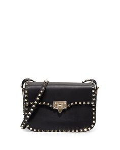V2JPG Valentino Rockstud Leather Flap-Top Shoulder Bag, Black