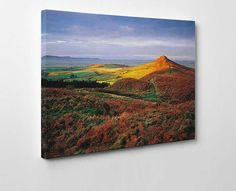 Roseberry Topping is a beautiful #Yorkshire landscape on the canvas. This artwork has all the well known elements of a traditional english scene; the greenery, valleys and a sumptuous hill.