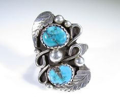 Sterling Silver Ring Southwestern Handmade with Turquoise and Leaves