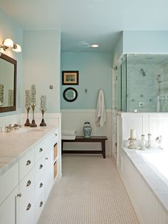 I love everything about this bathroom!  Layout, colors, clean look.  It's just fabulous.