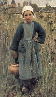 george clausen: breton girl carrying a jug by deflam, via Flickr