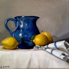 "Daily Paintworks - ""Petite Blue Pitcher with Three Lemons No. 1"" - Original Fine Art for Sale - © Naomi Hughes"