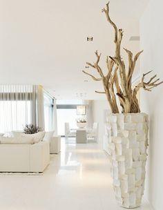 Driftwood Decoration Ideas Of Modern Luxury White Interior Design Ideas: Luxury Hillside Villas, The Cliff House by Altea Hills Estate Cliff House, White Interior, Decor, House Styles, Beach House Decor, Luxury Interior, Modern Mansion, Seaside Decor, Vases Decor
