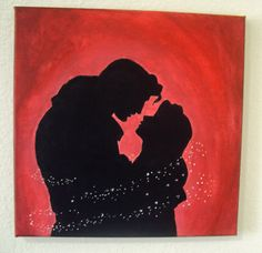 Disney princess Belle beauty and the beast acrylic canvas painting 12 x 12. $20.00, via Etsy.
