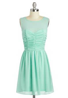 Curtain Calm Dress - Mid-length, Mint, Solid, Ruching, Party, A-line, Sleeveless, Scoop, Pastel
