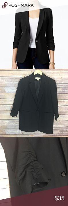 "Michael Kors Runched Sleeve Blazer Micheal Kors Runched Sleeve Black Blazer. Size 12P. Measures pit to pit 20""/ length 26.5"". Michael Kors Jackets & Coats Blazers"
