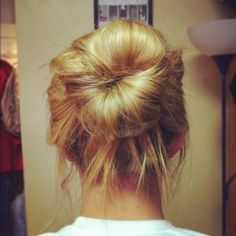 sock bun...done this before but mine was always too high.  hers looks really good!