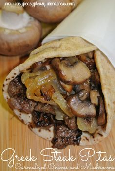 Greek Steak Pitas with Carmalized Onions and Mushrooms is the most requested meal from my husband When I ask my husband what do you want for dinner tonight honey? He always wants Greek Steak Pitas. It's my husband's most requested meal. Greek Recipes, Meat Recipes, Cooking Recipes, Recipies, Healthy Pita Recipes, Stuffed Burger Recipes, Leftover Steak Recipes, Greek Meals, Steak Sandwich Recipes