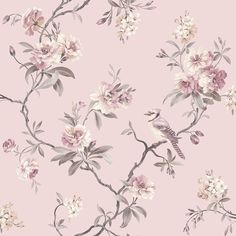 Chinoiserie Floral x Wallpaper Roll, a sophisticated floral pattern. Blooms barely tinted and birds are printed on a background. This wallpaper roll is a un-pasted, paper wallpaper. Grey Floral Wallpaper, Chinoiserie Wallpaper, Bird Wallpaper, Paper Wallpaper, Wallpaper Samples, Wallpaper Roll, Tree Branch Wallpaper, 1950s Wallpaper, Wallpaper Patterns