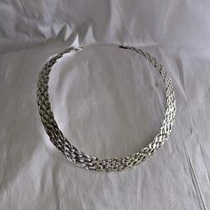Sterling Silver Mexico Braided Choker Necklace signed ATI #Unbranded