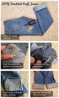 DIY Studded Cuff Jeans-17 Inspirational DIY Projects With Studs And Spikes