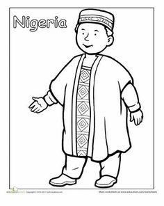 First Grade People Community & Cultures Worksheets: Nigerian Traditional Clothing Coloring Page Detailed Coloring Pages, Colouring Pages, Coloring Pages For Kids, Coloring Sheets, Mandala Coloring, Coloring Books, Nigerian Traditional Clothing, Traditional Outfits, Kids Around The World
