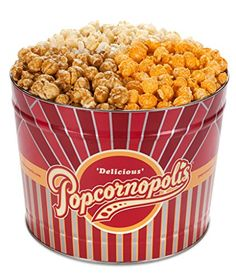 Popcornopolis Gourmet Popcorn 2 Gallon Tin - Classic Including Caramel, Cheddar Cheese and Kettle Corn - Food Cheese Popcorn, Popcorn Tin, Popcorn Snacks, Gourmet Popcorn, Gourmet Cheese, Gourmet Recipes, Dog Food Recipes, Snack Recipes, Packaging