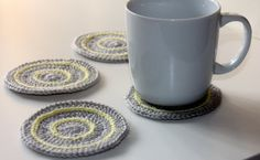 Crochet Coasters in Light Grey and Lemon  Set of 4 by kylieB, $18.00