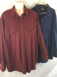 2 - St Johns Bay Chamois Thick Long Sleeve Button Down Shirts 2XLT Maroon & Blue #StJohnsBay #ButtonFront