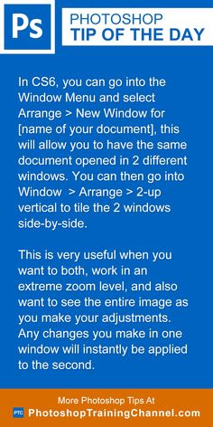 In CS6, you can go into the Window Menu and select Arrange > New Window for [name of your document], this will allow you to have the same document opened in 2 different windows. You can then go into Window  > Arrange > 2-up vertical to tile the 2 windows side-by-side. This is very useful when you want to both, work in an extreme zoom level, and also want to see the entire image as you make your adjustments. Any changes you make in one window will instantly be applied to the second.