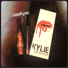 Lip Kit by Kylie Jenner 22 Red Orange Matte Lip Lip Kits by Kylie Jenner in her new shade 22!! It is a beautiful orange red or burnt orange. It definitely comes out more on the red aide like red orange not how it looks in the bottle. Brand new never opened. Comes with a liquid matte lipstick and lip pencil.  Kylie Cosmetics  Makeup Lipstick
