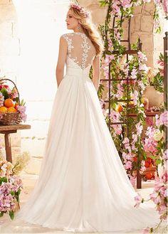 comprar Impresionante tul Queen Anne escote una línea de vestido de novia con bordado de descuento en Dressilyme.com
