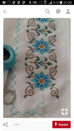 This Pin was discovered by yel Cross Stitch Letters, Cross Stitch Borders, Cross Stitch Samplers, Modern Cross Stitch, Cross Stitch Flowers, Cross Stitch Designs, Cross Stitching, Cross Stitch Embroidery, Stitch Patterns