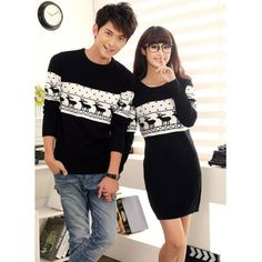 Cute Girlfriend Boyfriend Matching Winter Jumper for 2 featuring polyvore fashion clothing tops sweaters boyfriend sweater boyfriend tank top jumpers sweaters jumper top blue top