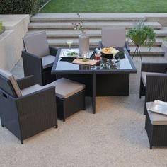 All-Weather Wicker Nesting Patio Furniture Dining Set - Seats 4