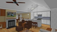 Interior rendered view, Living Area of In-Law Suite Addition. In Law Suite, Drawing Board, Living Area, Interior, Table, Furniture, Home Decor, Indoor, Interiors