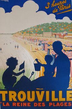 Affiche de Voyage Originale Française Art Déco 1930, Trouville la Reine des Plages - Courchinoux