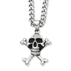 Chisel Versil Stainless Steel Antiqued Skull and Crossbones 24-inch Pendant Necklace