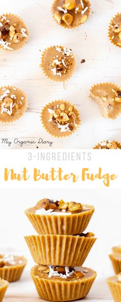 3-INGREDIENT NUT BUTTER FUDGE - Ideal healthy snack or dessert made in less than 5 minutes.