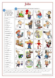 Free ESL, EFL printable worksheets and handouts Vocabulary Practice, Student Jobs, List Of Jobs, Comprehension Activities, Teaching Jobs, Reading Passages, Home Learning, Teaching Materials, Printable Worksheets