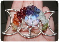 Triple Moon Chakra Tree Of Life Moon Pendant from Wired Up on Facebook