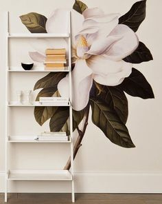 A botanical style wall painting - so beautiful.