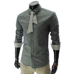 (HA211-NAVY) Slim fit Leather Patched Pocket Ribbon Tie Long Sleeve Shirts