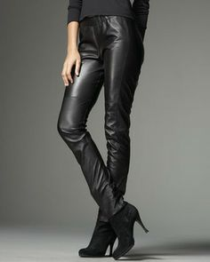 Neiman Marcus Stretch Leather Leggings on shopstyle.com